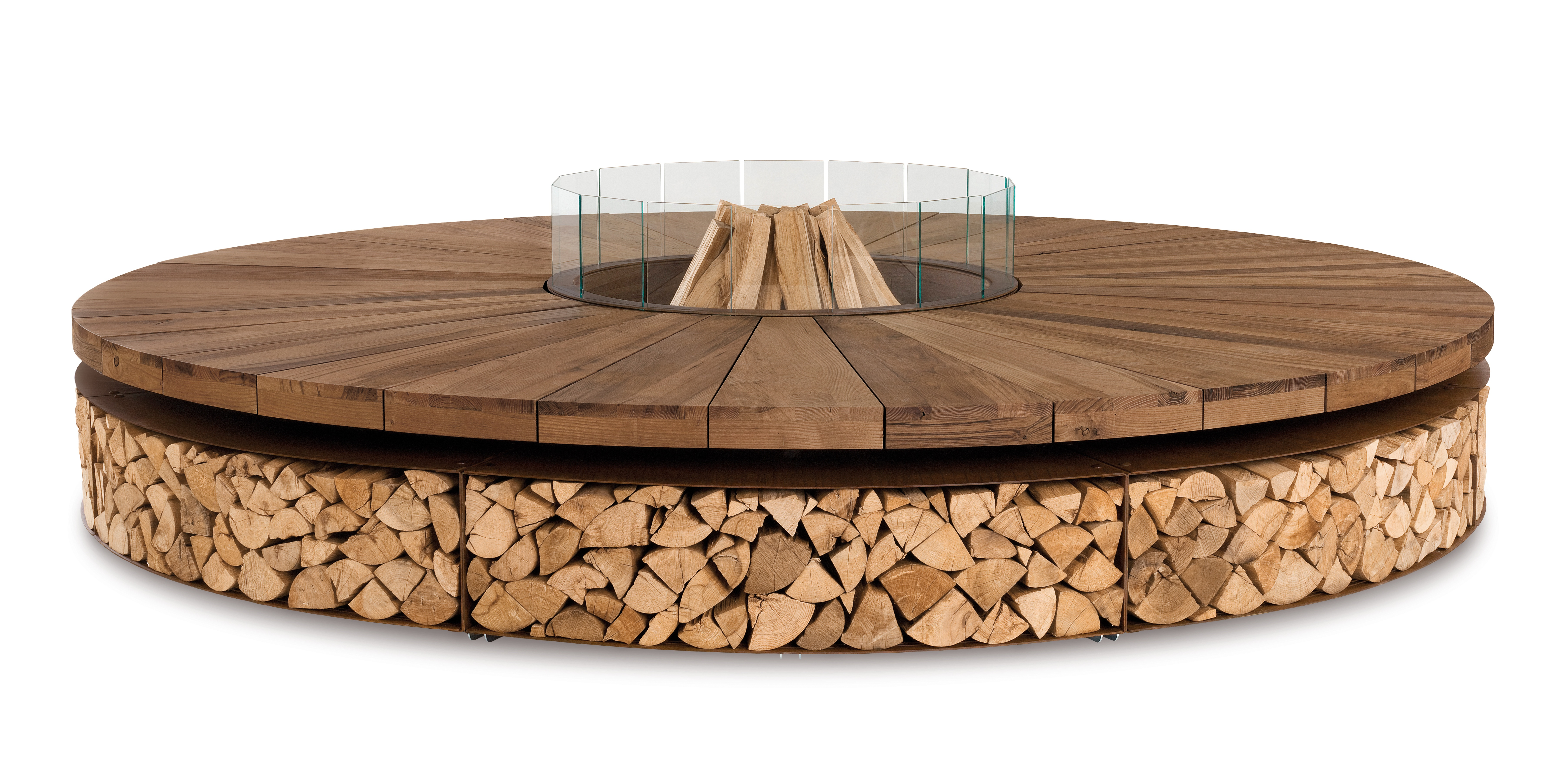 The sculptural, outdoor wood-burning Artu' firepit is crafted from steel and reclaimed chestnut wood.