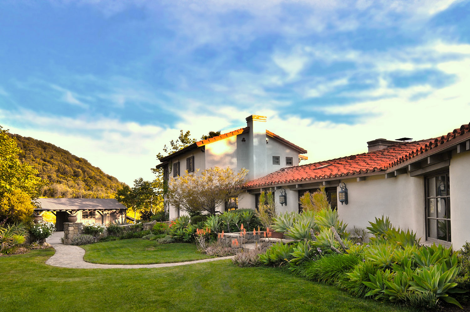 Beautifully landscaped grounds are a highlight of the Ojai residence.