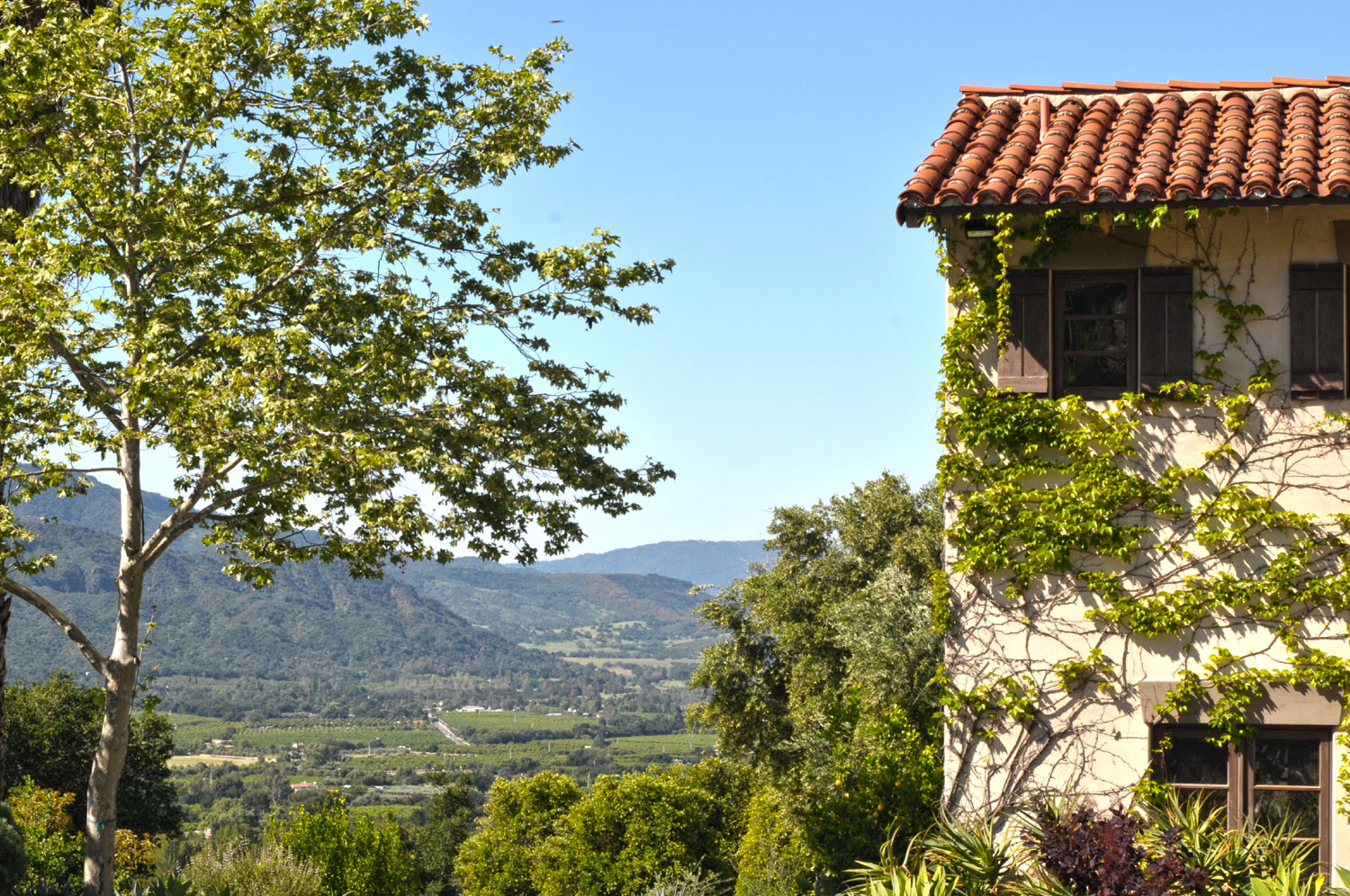 The estate enjoys commanding views of the Ojai Valley.