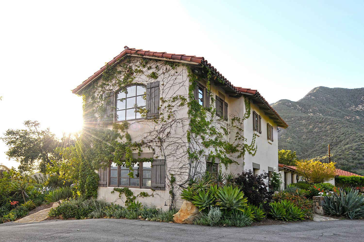 The stately Mediterranean retreat is surrounded by the Los Padres National Forest.