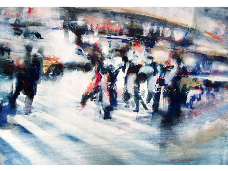 """Antonides's paintings defy the reputation of watercolor as a """"fragile"""" medium, and capture the movement and pace of city life, as seen here in <i>Over – New York</i> (2015)."""