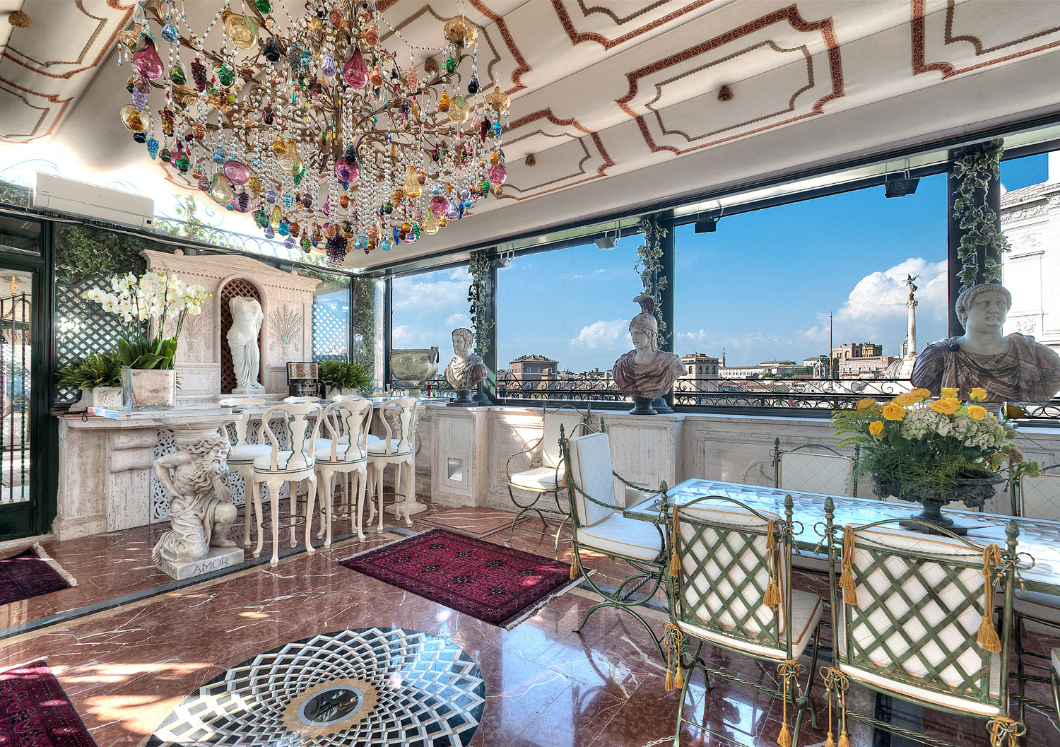 A historic palazzo, impeccably updated, offers breathtaking 360-degree views of Rome, a plethora of monuments, museums and galleries, just six minutes' walk from the Capitoline Museums, and a leisurely walk from the Vatican Museums.