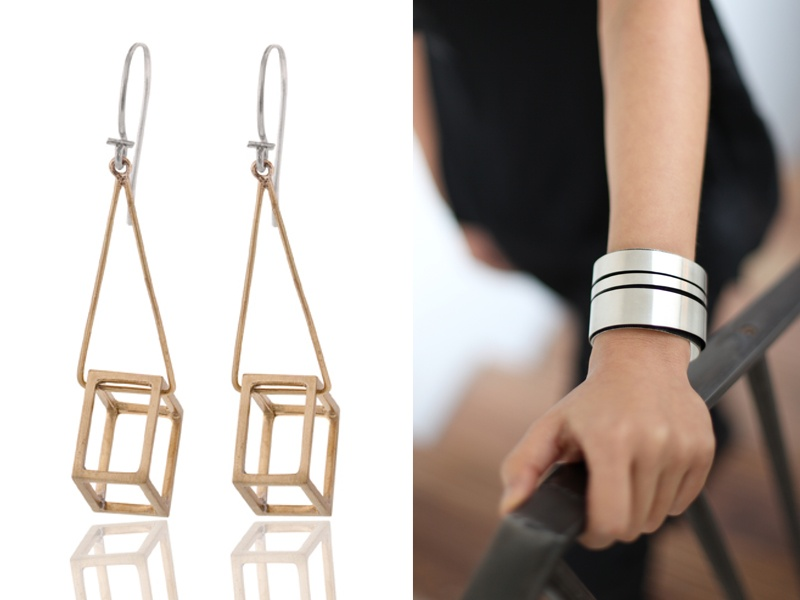 Jewelry pieces by Pico Design include geometric forms such as the Cube drop earings (left), and the Rotunda cuff (right) inspired by the exterior of New York's Guggenheim museum.