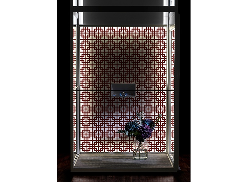 """Prominent Scandinavian designers and artists have created unique """"artworks"""" for the Aritco HomeLift's DesignWall feature—shown here is Orientalic by Alexander Lervik."""