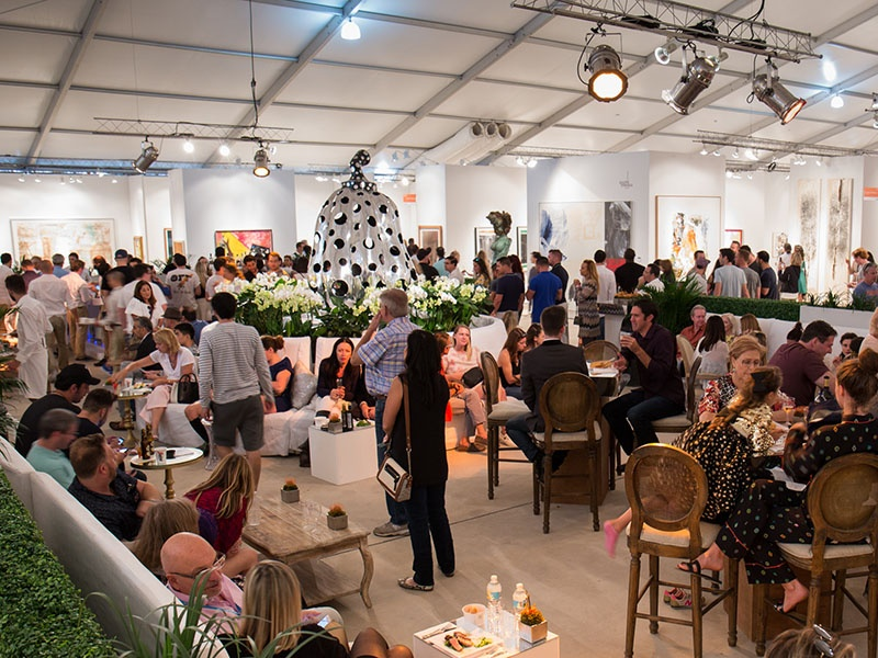 The VIP Lounge at the 2016 edition of Art Miami featured Yayoi Kusama's steel pumpkin sculpture at its center. For 2017, there are six hospitality areas, including a waterfront cafe, an indoor cafe, outdoor dining space, a cocktail lounge, and an exterior cocktail deck overlooking the bay.