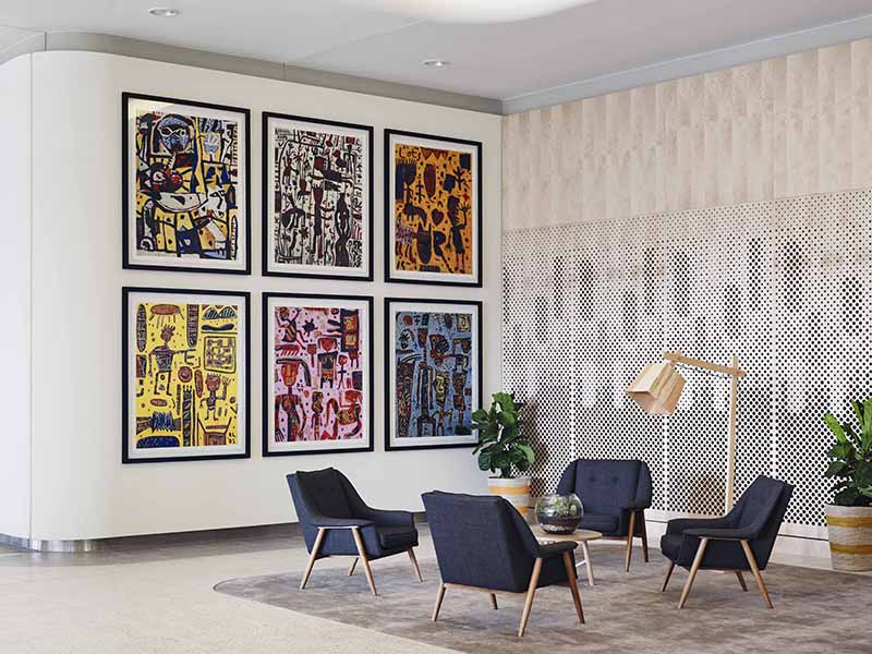 Figurative expressionist David Larwill's playful paintings are featured in The Larwill Studio hotel in North Melbourne, Australia.