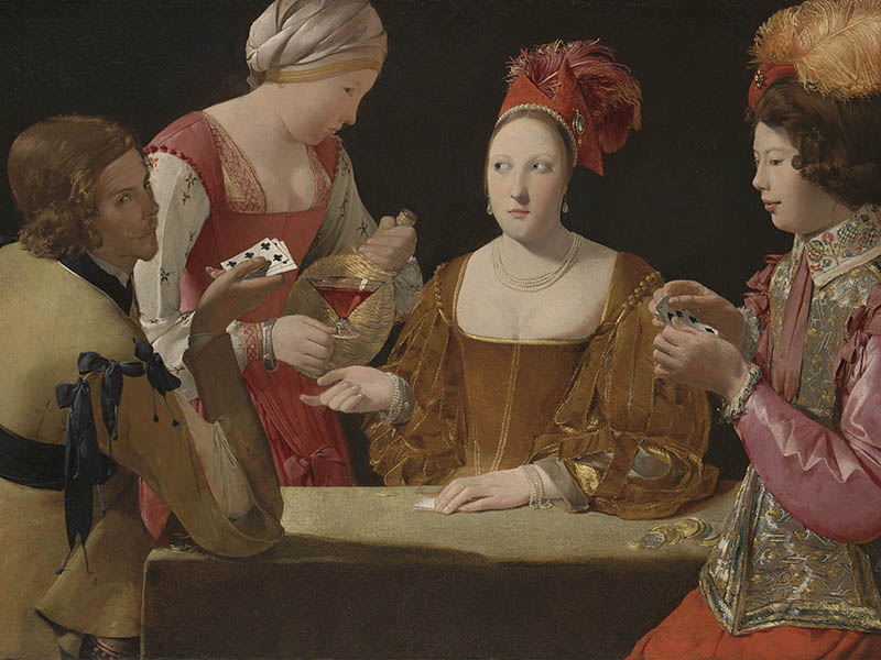 Georges de la Tour, <i>The Cheat with the Ace of Clubs</i>, c.1630-34, oil on canvas. Image: © Kimbell Art Museum, Fort Worth, Texas/The National Gallery, London