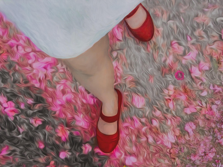 Liliane Blom, <i>Red Shoes</i>, 2016, digital painting on canvas.