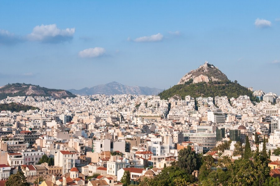 Panoramic views of Athens include the striking silhouette of Mount Lycabettus, where great talents have been performing for centuries in the open-air amphitheater.