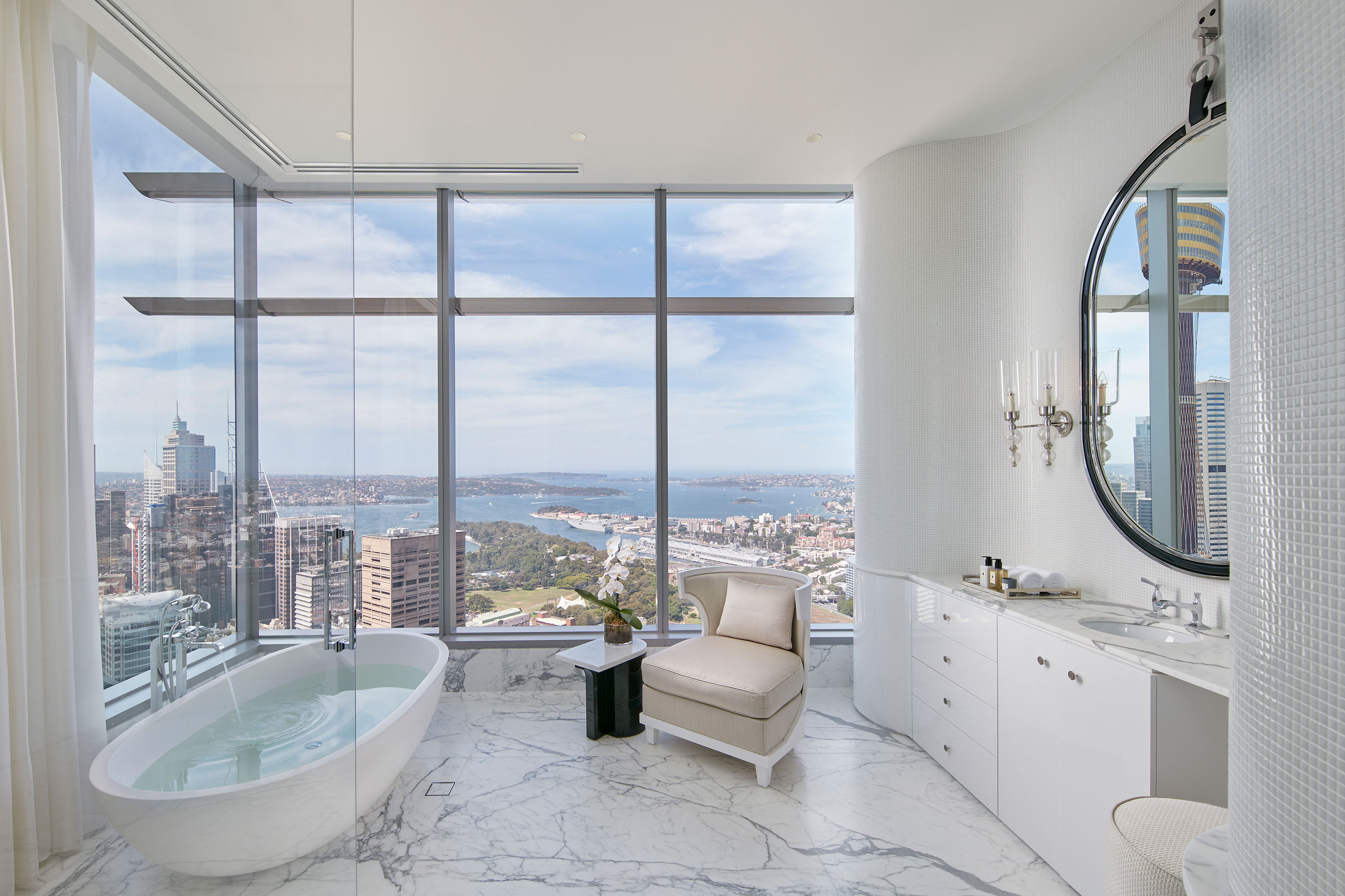 The only residence in the iconic ANZ Tower, this trophy penthouse in Sydney's CBD has showstopping views of the city, the harbour, and the world-famous opera house.