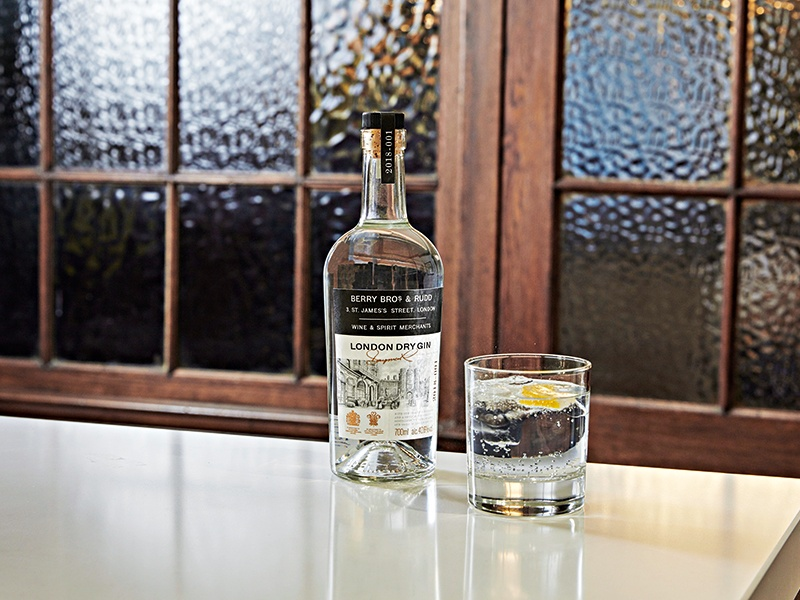 Berry Bros & Rudd's Dry London Gin gets its distinctive flavor from juniper, and a combination oranges, grapefruit, and angelica root from Spain, and coriander seed, and cardamom pods from Morocco.