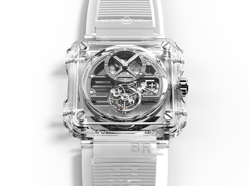Typically known for pilot-style, utilitarian timepieces, Bell & Ross's BR-X1 Skeleton Tourbillon Sapphire represents a change of pace, with the movement encased in fully transparent sapphire crystal.