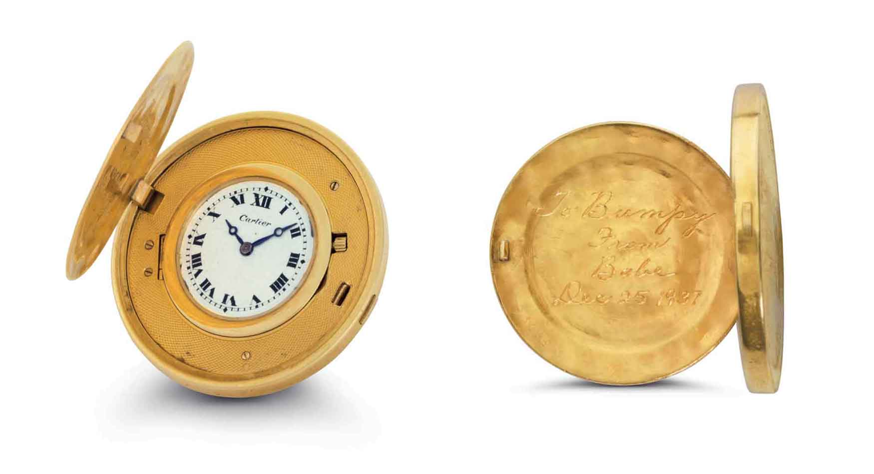 "A fine 18k gold Twenty Dollar coin watch by Cartier, given from American baseball legend Babe Ruth to his friend and well-known New York gangster ""Bumpy Johnson."" Estimate: $50,000-100,000"