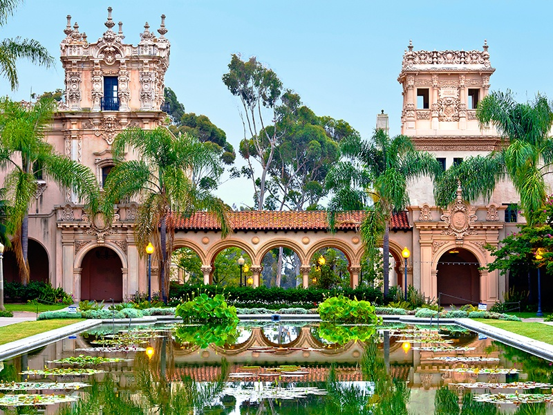 Architecture spanning Spanish Colonial Revival to mid-century Modern can be found in Balboa Park. Photograph: iStock