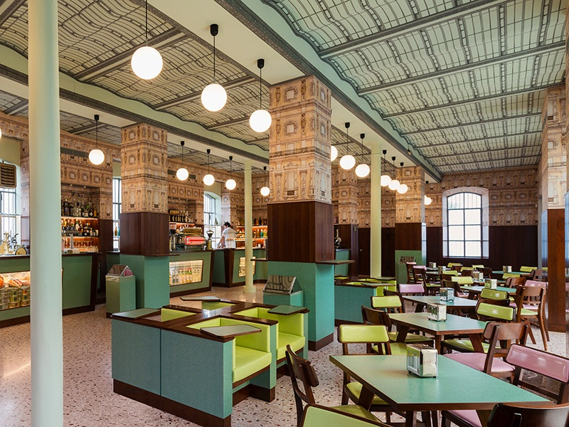 Designed by film director Wes Anderson, the whimsical Bar Luce in Fondazione Prada recreates the atmosphere of a typical Milanese café.