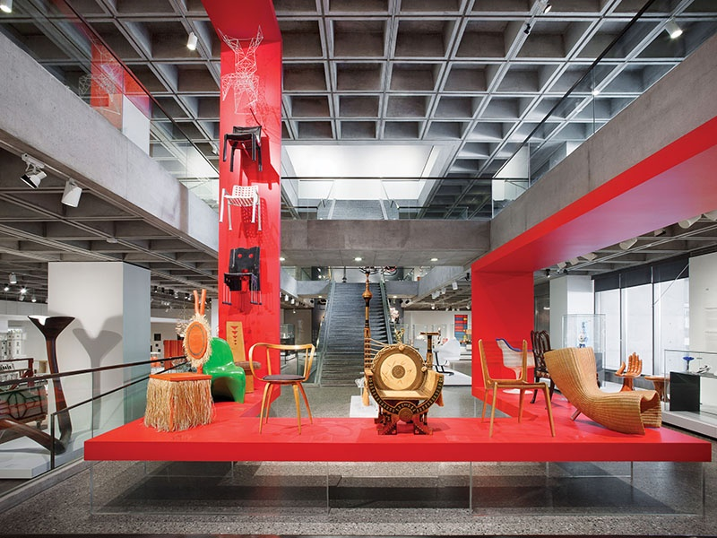 The Liliane and David M. Stewart Pavilion in the Montréal Museum of Fine Arts is dedicated to decorative art and showcases over 900 objects, including furniture, glass, silver, textiles, ceramics, and industrial design. Photograph: Liliane and David M. Stewart Pavilion, level 1. The Montréal Museum of Fine Arts. Photo: Marc Cramer.