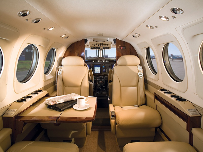 The King Air C90GTx has a square-oval design that provides more headroom and shoulder space.