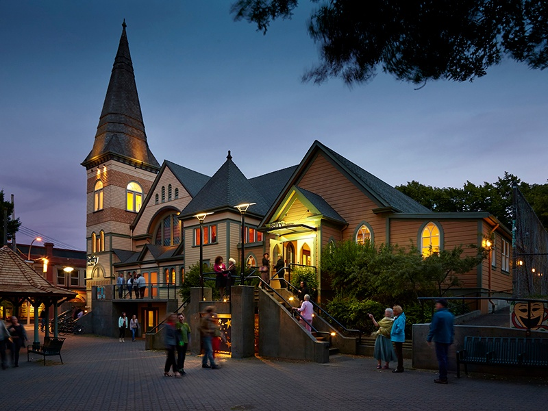 Based in a former church, the oldest parts of which date back to 1886, the Belfry Theatre has been staging productions since 1976, with an emphasis on plays written and directed by Canadian talent. Photograph: Jo-Ann Richards, Works Photography.
