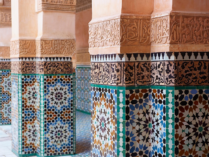 The courtyard of the Ben Youssef Medersa, once the largest Islamic school in North Africa, features colorful zellige tiles. Banner image: Nearly every surface of the Alhambra palace in Spain is covered with decoration—primarily tiles. Photographs: Getty Images