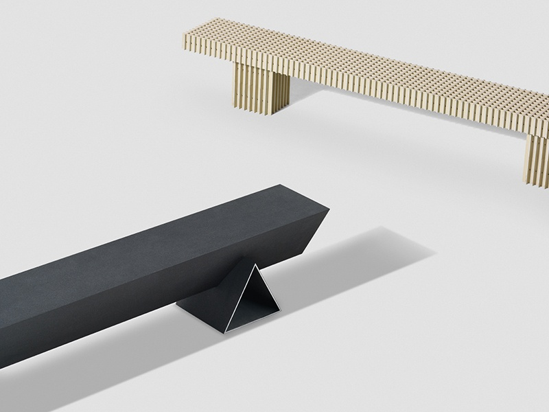 "Really's ""Solid Textile Board"" collection, a collaboration with textile manufacturer Kvadrat, will be launched at Salone del Mobile 2017. These benches are by designer Max Lamb. Photograph: Angela Moore"