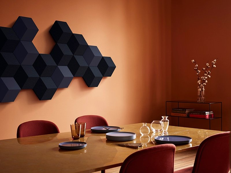 Bang & Olufsen's modular BeoSound Shape speaker system evokes a sense of natural beauty and can be arranged in nearly endless combinations of colors, shapes, and sizes.