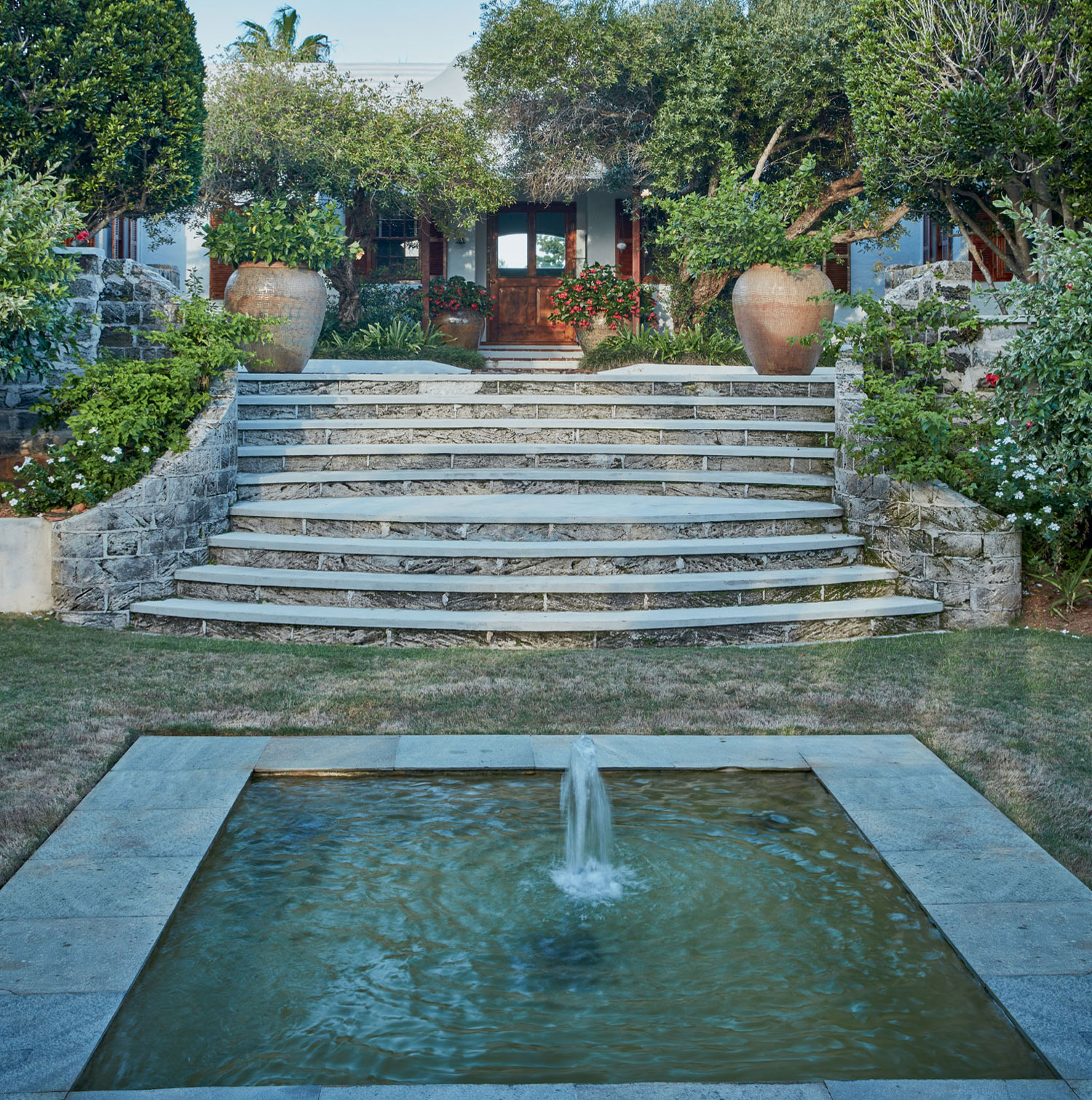 A reflecting pool is among the delights found within Shell Point's paradisiacal grounds.