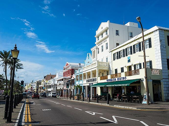 Front Street is Hamilton's main thoroughfare, with a variety of exclusive shops and restaurants. Photograph: Alamy