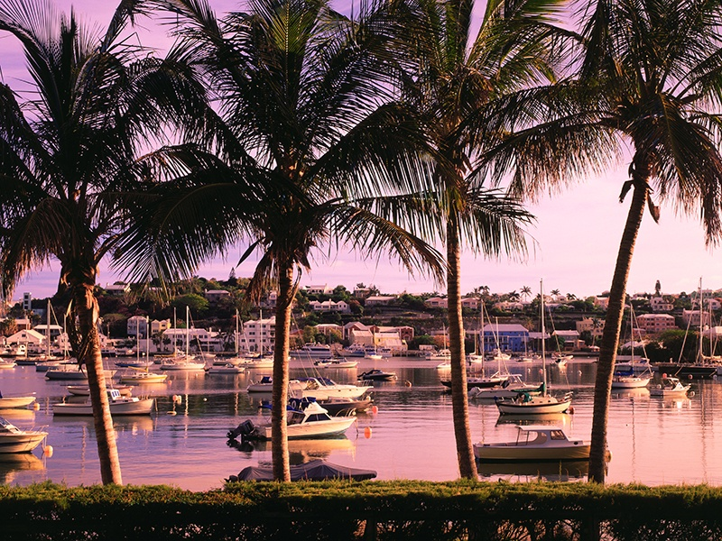 Glorious views of Hamilton Harbour can be enjoyed from many of the restaurants on Front Street. Photograph: Alamy