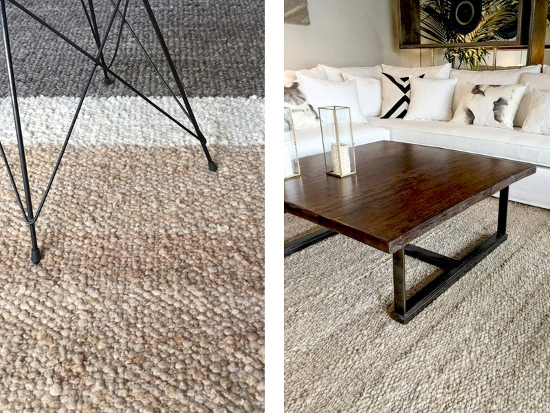 Awanay's rugs are handwoven using traditional techniques and pure hand-spun sheep's wool by rural communities in Argentina. The Bloques (left) and Jume (right) designs each take approximately two months to produce, and emphasize the natural beauty of the material.