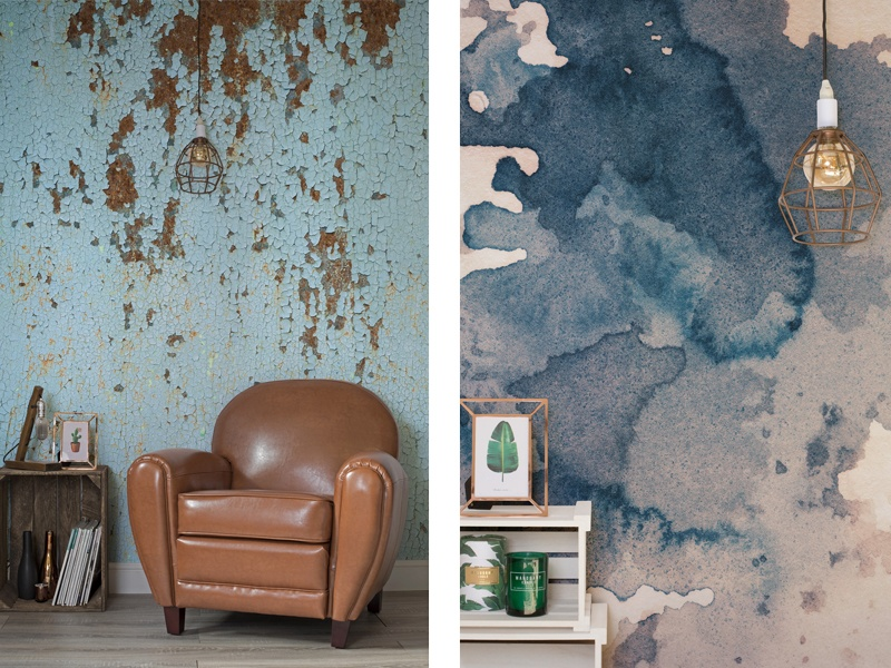 Create your own design at Murals Wallpaper, or choose from the company's huge range of images and abstract patterns – such as Gasometer (left) and Ink Blot (right) – for a striking backdrop in any room.
