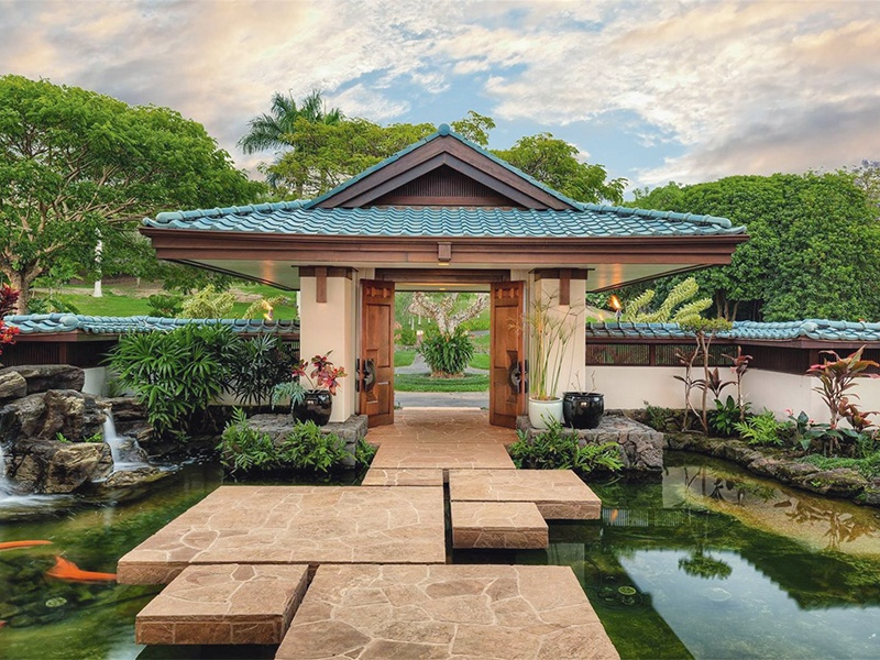 Expansive lanais and botanical gardens border Big Island Estate's two swimming pools, and a spa invites relaxation. The compound spans more than 90 acres in Holualoa. $14,500,000. On the market with Hawaii Life, Christie's International Real Estate's exclusive affiliate in Hawaii.
