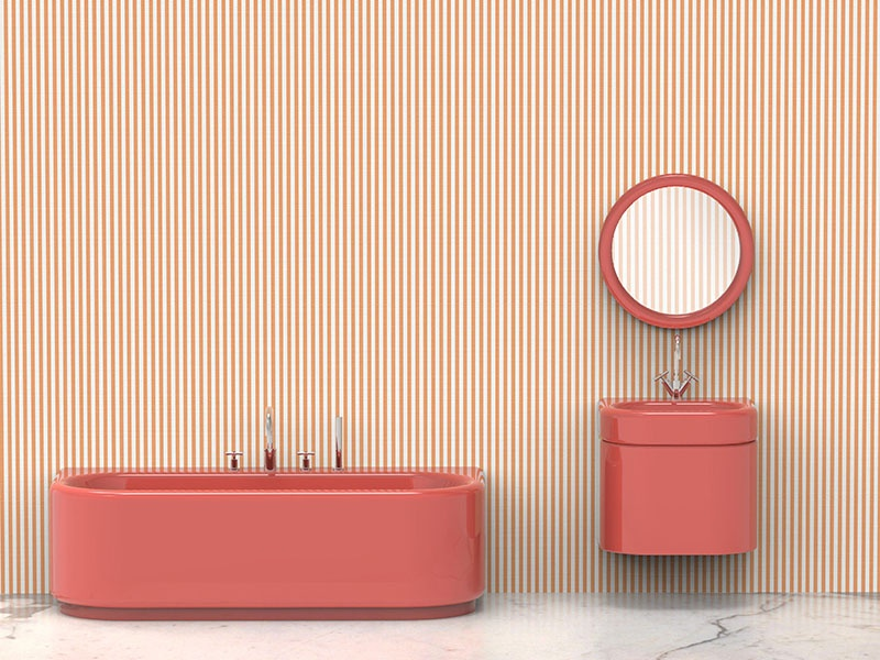 The Pinstripe mosaic tile by Bisazza was created in collaboration with renowned designer India Mahdavi for Milan Design Week (Salone del Mobile) 2018.