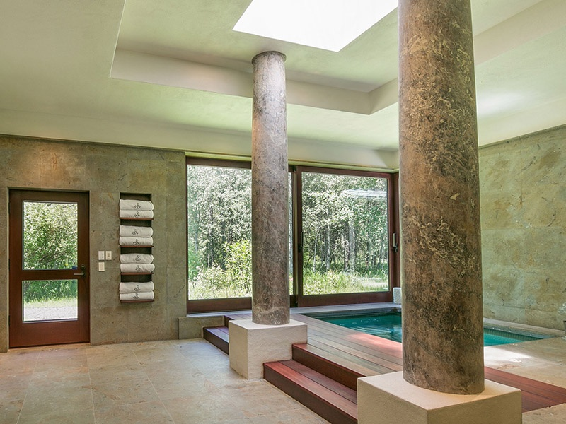 The spa wing at the Frederick Fisher-designed Bloom Ranch includes a massage room, steam room, gym, sauna, and pool. $17,500,000. On the market with Sun Valley Real Estate, Christie's International Real Estate's exclusive affiliate in Ketchum.