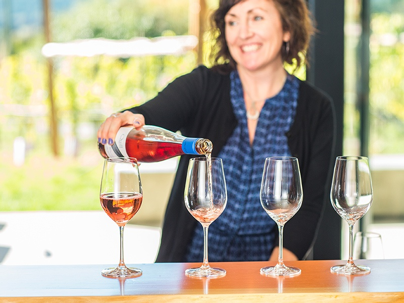 The wine tastings at Blue Grouse are held in the architecturally intriguing Tasting Room, inspired by the curved tail plumage of the blue grouse. Photograph: Derek Ford