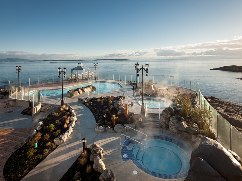 The Boathouse Spa at the Oak Bay Beach Hotel offers outdoor mineral pools on the edge of the Salish Sea, as well as a range of treatments and experiences. Its Boathouse Kitchen & Bar is open from May to September.