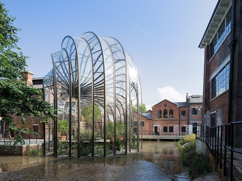 Distillery Bombay Sapphire commissioned Heatherwick Studio to create an in-house production facility on the site of a former water-powered paper mill in England. Photograph: Iwan Baan
