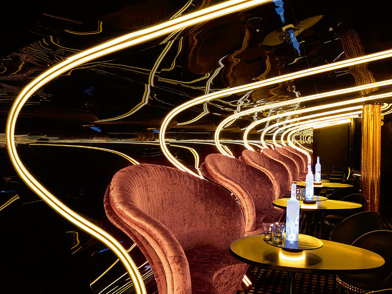 In Hachem's recent overhaul of Melbourne's Bond bar, signature curves and classic glamour were retained, while furnishings and features were radically updated, and innovative technologies seamlessly integrated. Photograph: Shania Shegedyn