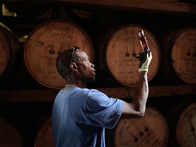 Access to its own cooperage means Woodford Reserve builds and chars its own white-oak barrels. The bourbon matures in these casks—resting in warehouses and developing its unique character.