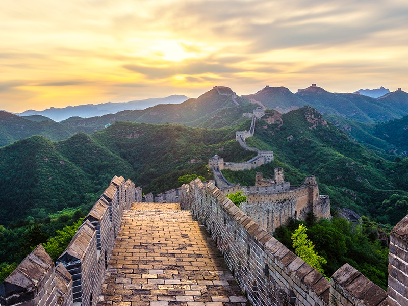 The ramparts of China's Great Wall are made of adobe bricks, a brick and stone mixture, rocks, or pilings and planks. Photograph: Getty Images