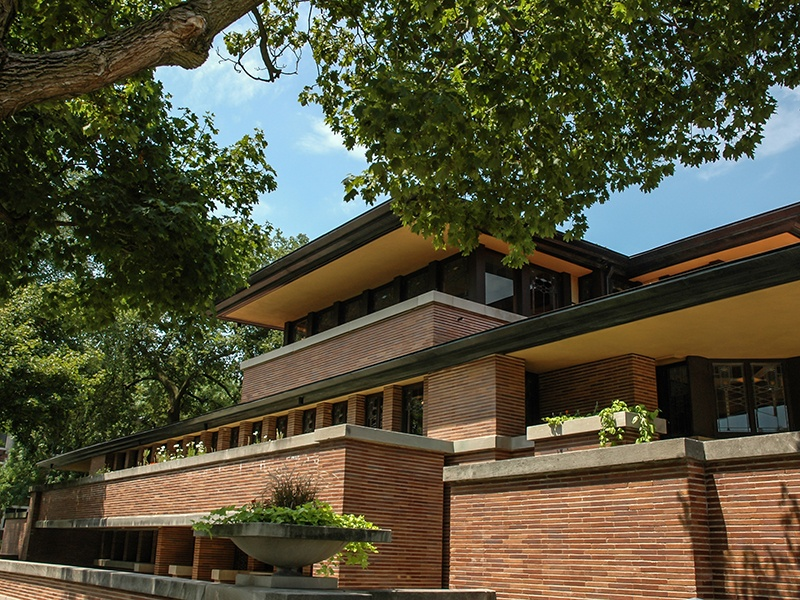 Robie House, designed by Frank Lloyd Wright, has detailed exterior brickwork – including brick-coloured mortar – that reinforces the horizontal emphasis of the structure. Photograph: Getty Images