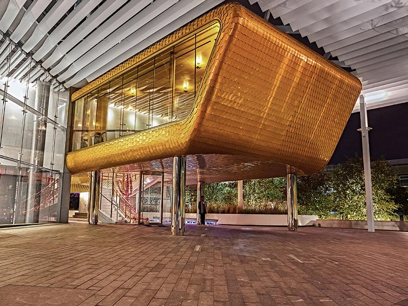 Bullion's stunning gold-brick exterior mirrors an equally impressive interior in the mid-century style by British designer Martin Brudnizki. Art and sculpture from Kathryn Andrews and Jean-Michel Othoniel form part of the offering.
