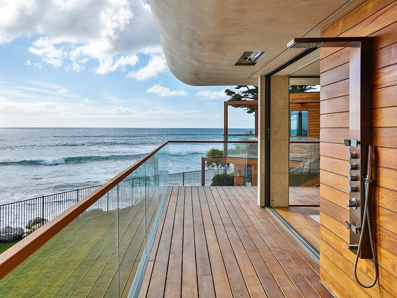 The outdoor shower at this Malibu home by Burdge & Associates Architects boasts an all-important ocean view.
