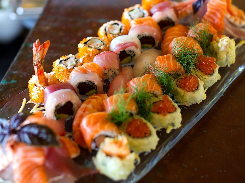 A Gili Lankanfushi resort speciality—an irresistible sushi platter.