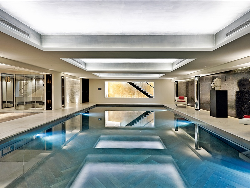 In the striking pool area at Cherry Hill, the walls are lined with black Brazilian leather-finished granite. Photograph: Christina Bull