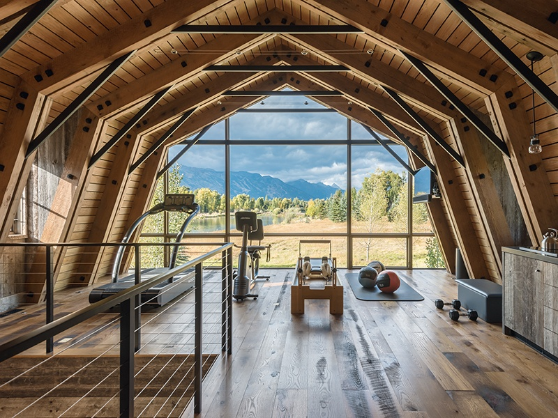 CLB Architects designed this glass-walled fitness suite in a Utah vacation home. Photograph: Audrey Hall. Banner image: Designer Sybille de Margerie's spa at the former home of Pre-Raphaelite painter Sir Lawrence Alma-Tadema. Photograph: F Rambert