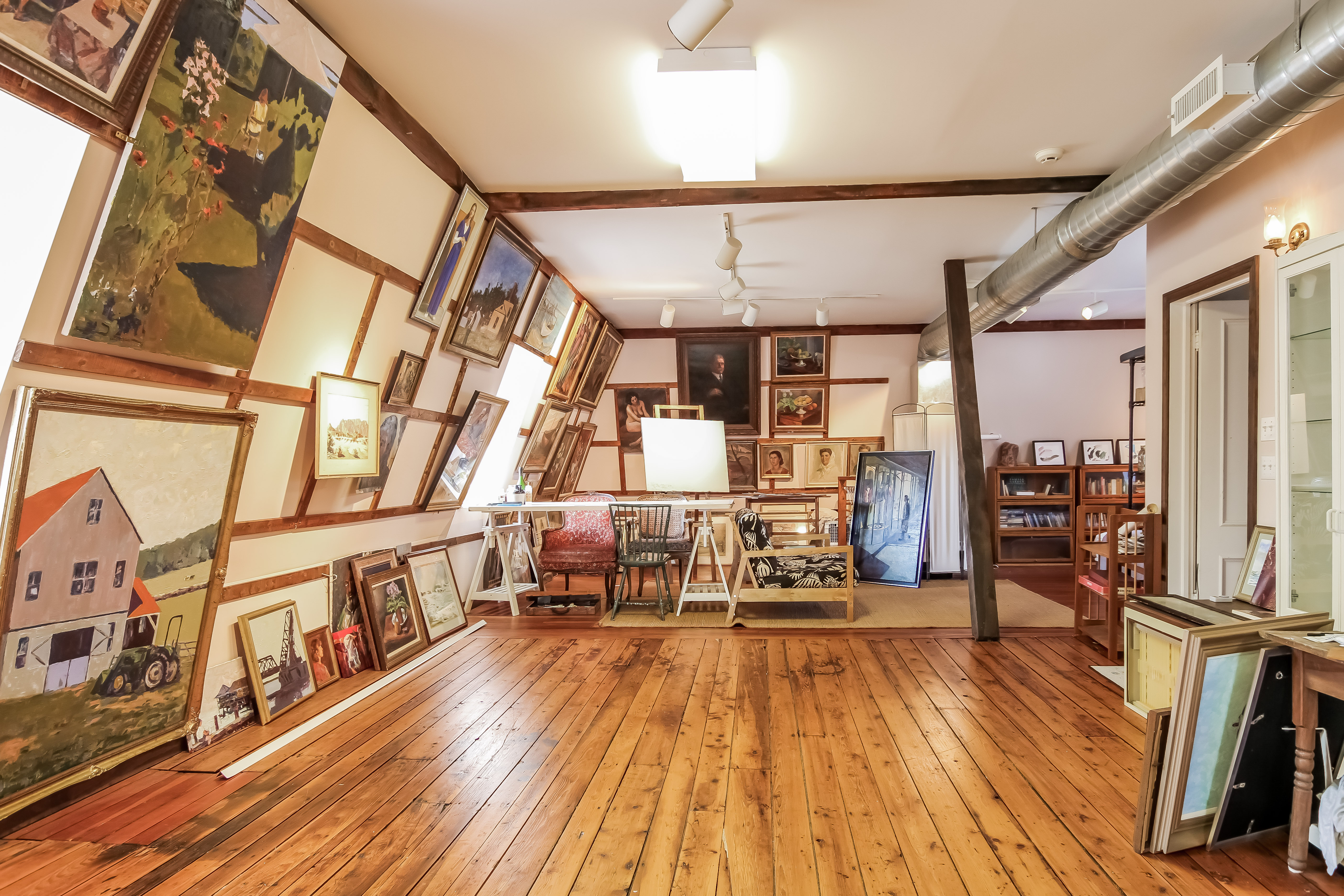 Artists will enjoy the studio located at the top of the main residence in this 11-acre Victorian-era compound.