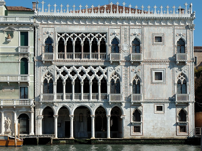 """The delicate gold-leaf detail—now faded away—on the façade of the 15th-century Cà d'Oro give it its name, which means """"Golden House"""" in English. Inside, visitors will find the Galleria Giorgio Franchetti."""