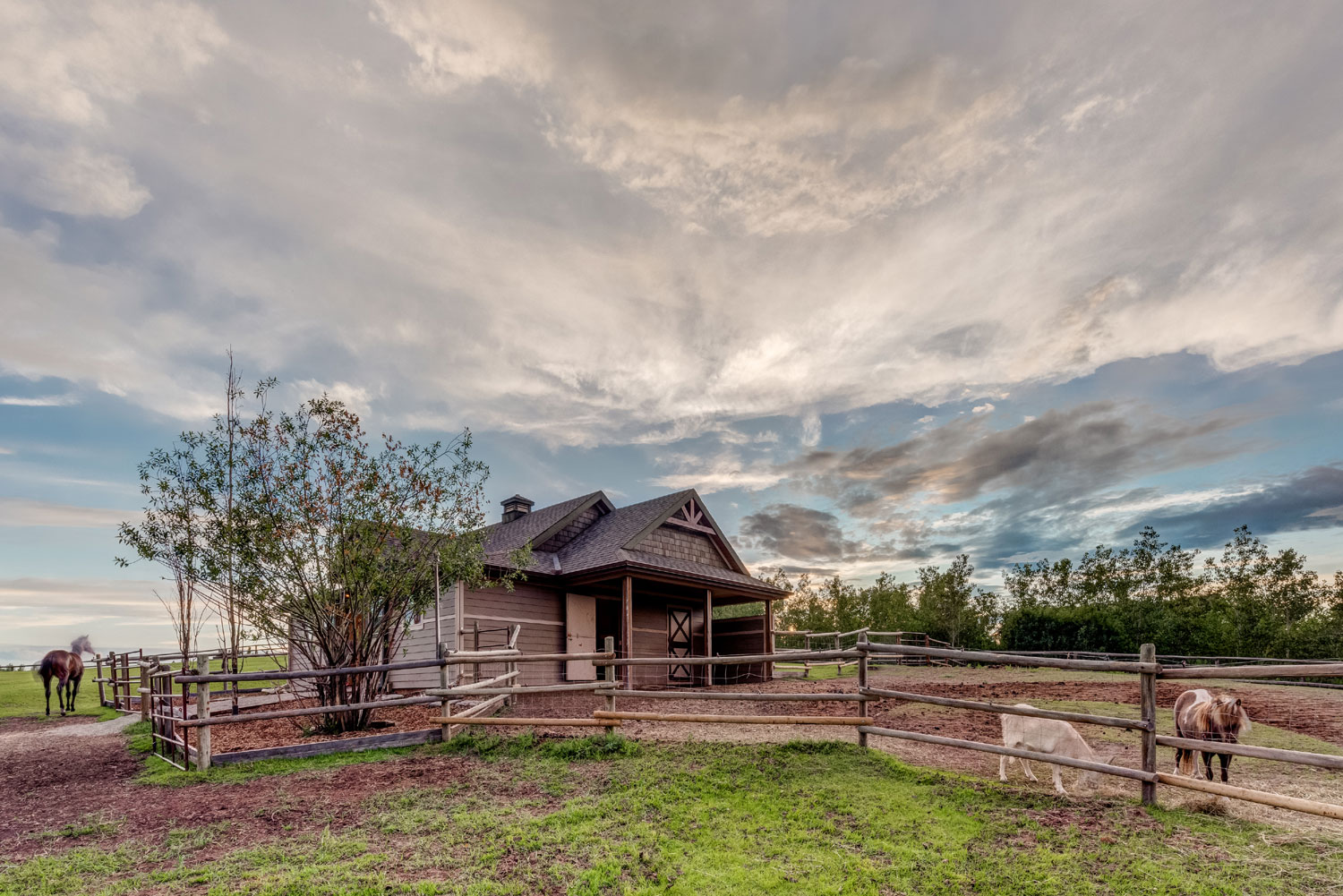 Ideal for both horse and hound, the 3.68-acre grounds include a fenced dog run, riding arena, modern equestrian barn, and post-and-rail fenced paddocks.