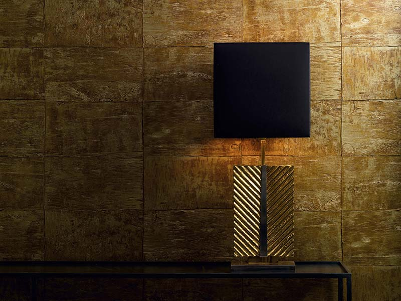 Goia wallcovering in gold, also available in dark silver, from The Grand collection by design house Carlucci di Chivasso.