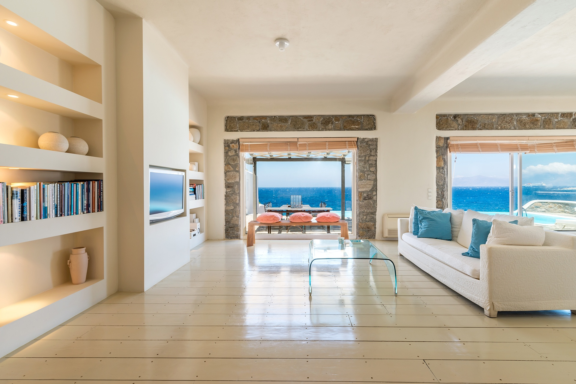Clean lines of the estate's interior help to emphasize the Aegean views.